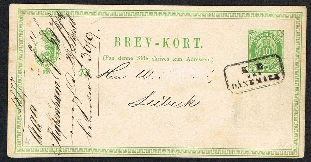 1877 10 Ore Brev Kort To Lubeck With The Scarce Boxcancel K B Aus