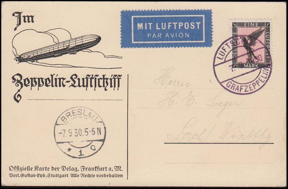 Breslau Karte 1930.1930 Lz 127 Graf Zeppelin Fahrt Nach Breslau Luftschiff Graf